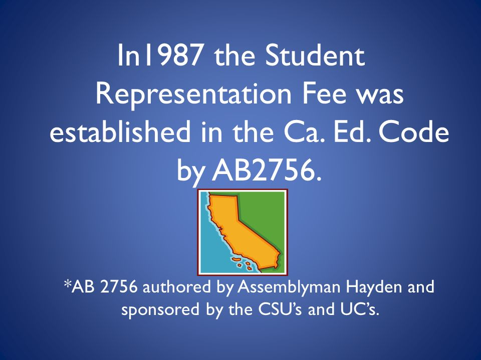 In1987 the Student Representation Fee was established in the Ca.