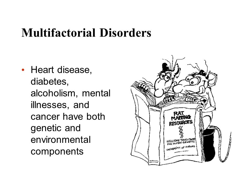 Multifactorial Disorders Heart disease, diabetes, alcoholism, mental illnesses, and cancer have both genetic and environmental components