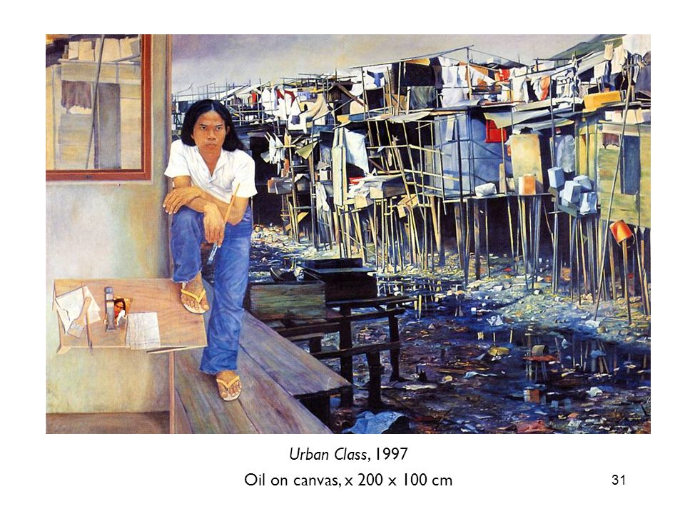 31 Urban Class, 1997 Oil on canvas, x 200 x 100 cm