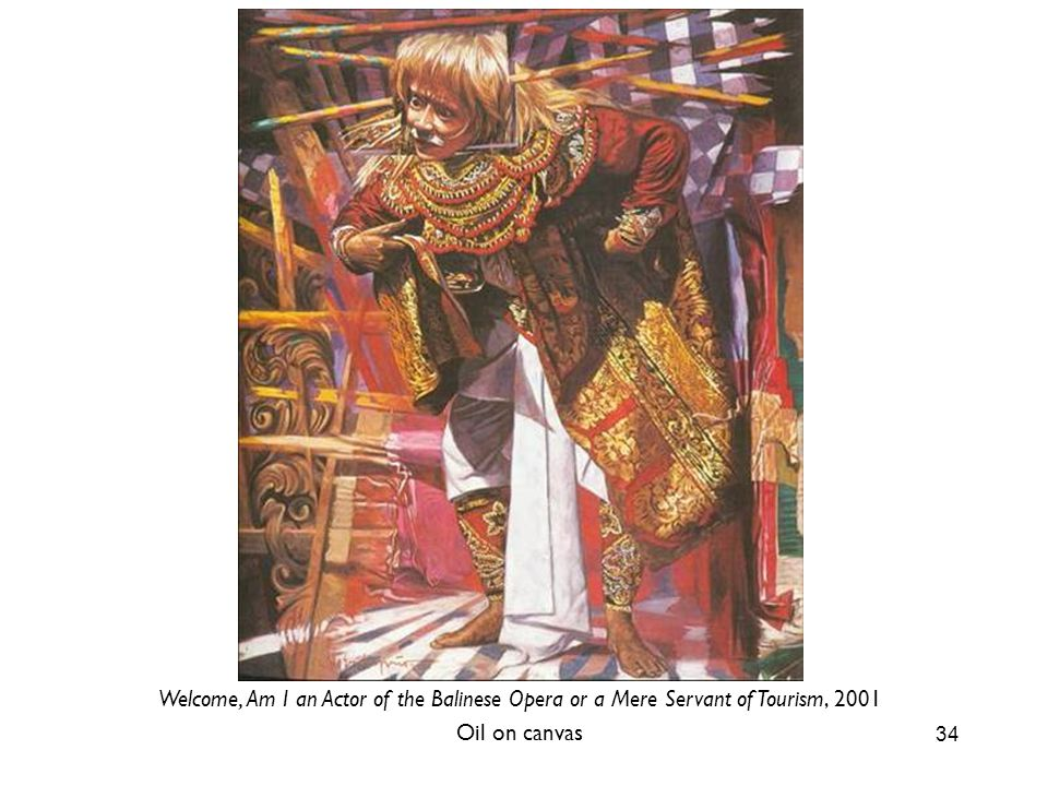 34 Welcome, Am I an Actor of the Balinese Opera or a Mere Servant of Tourism, 2001 Oil on canvas