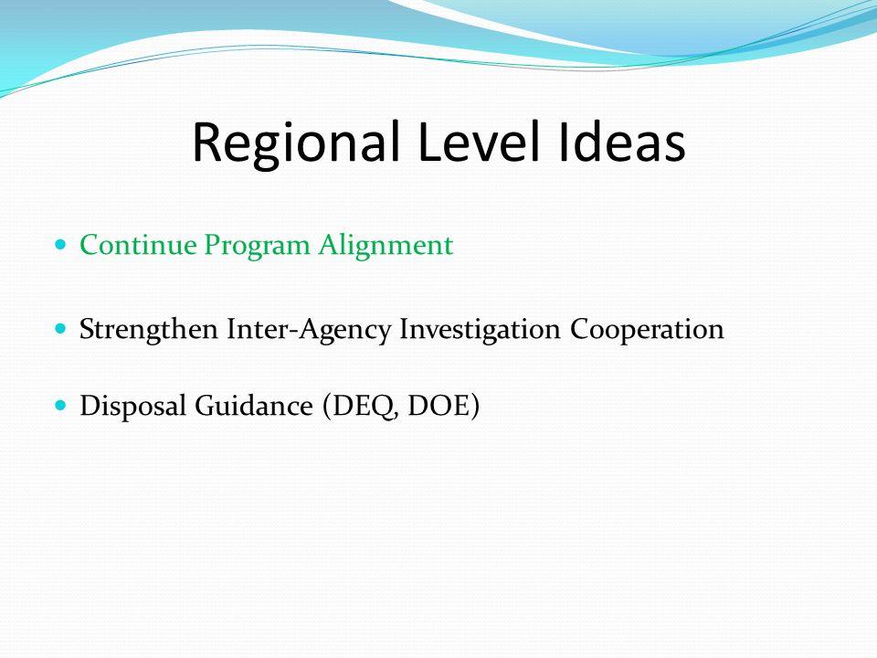 Regional Level Ideas Continue Program Alignment Strengthen Inter-Agency Investigation Cooperation Disposal Guidance (DEQ, DOE)