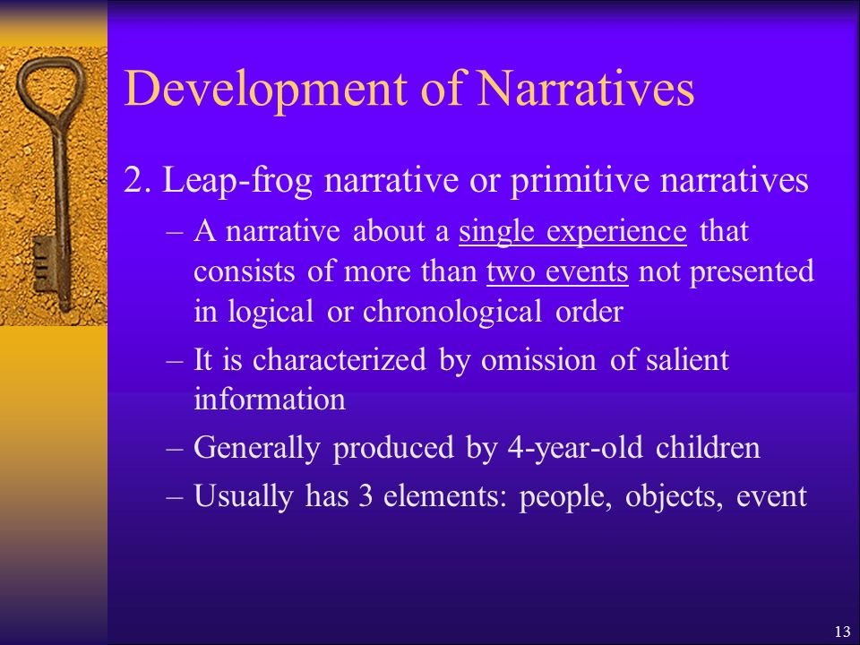 13 Development of Narratives 2.