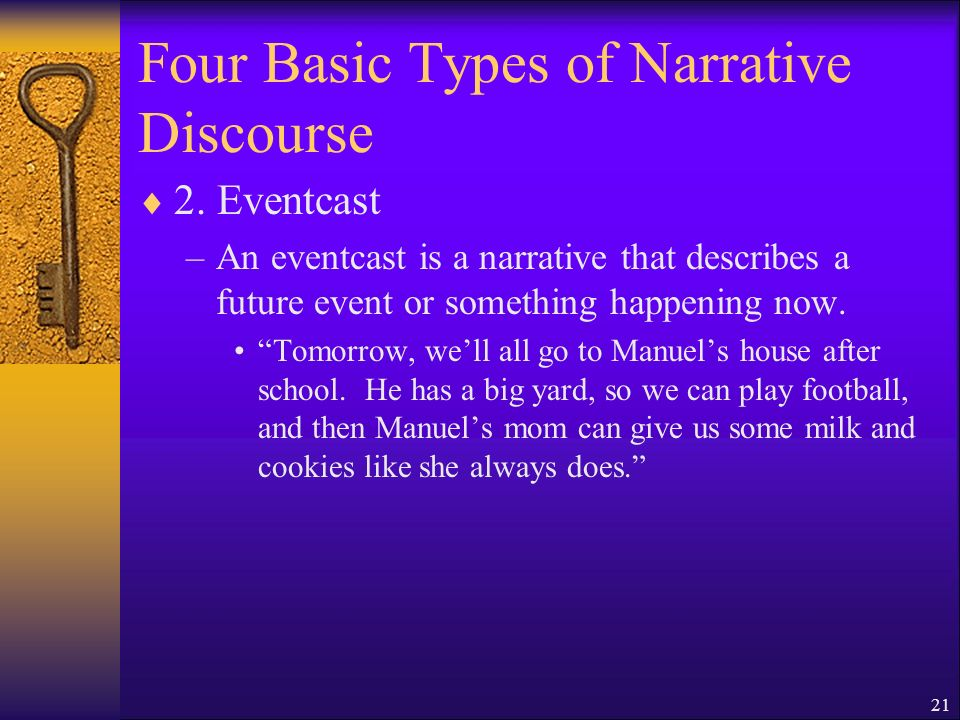 21 Four Basic Types of Narrative Discourse 2.