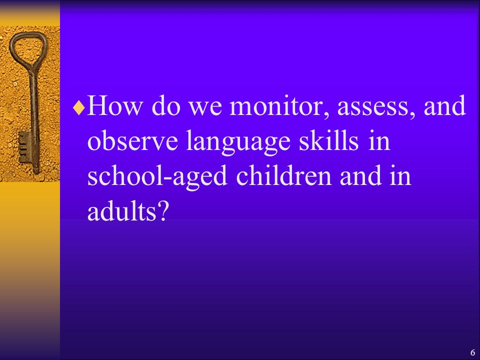 How do we monitor, assess, and observe language skills in school-aged children and in adults 6