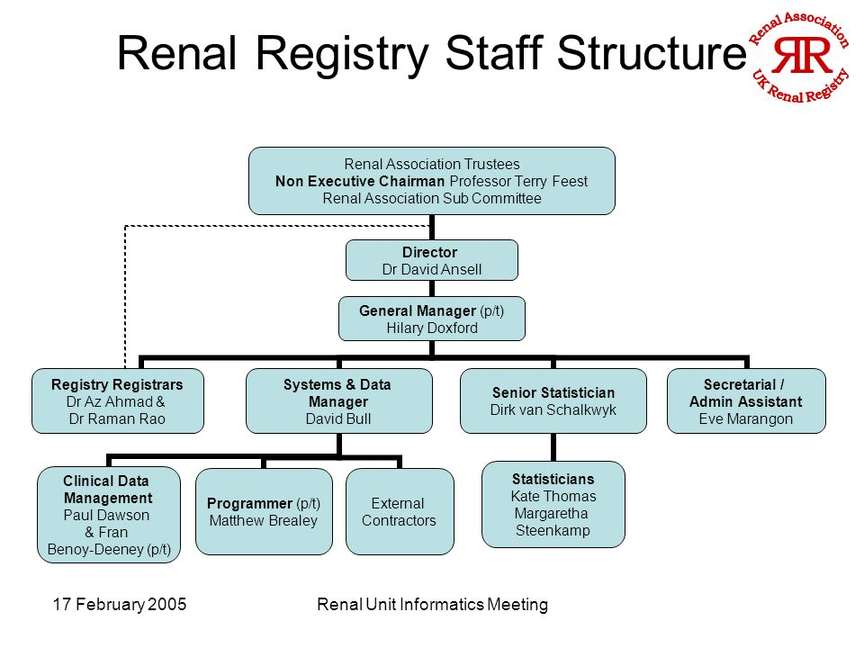 17 February 2005Renal Unit Informatics Meeting Renal Registry Staff Structure