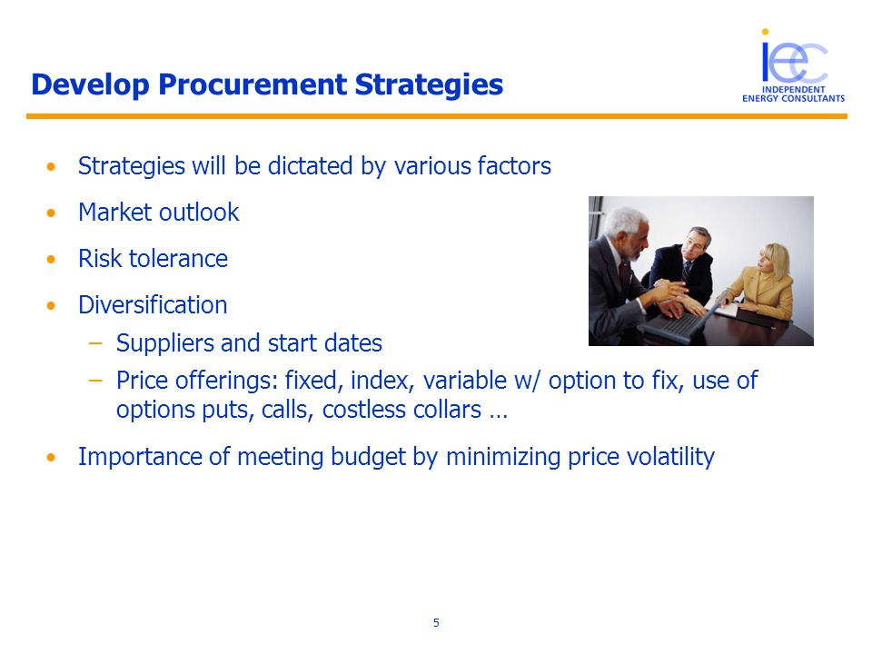 5 Develop Procurement Strategies Strategies will be dictated by various factors Market outlook Risk tolerance Diversification –Suppliers and start dates –Price offerings: fixed, index, variable w/ option to fix, use of options puts, calls, costless collars … Importance of meeting budget by minimizing price volatility