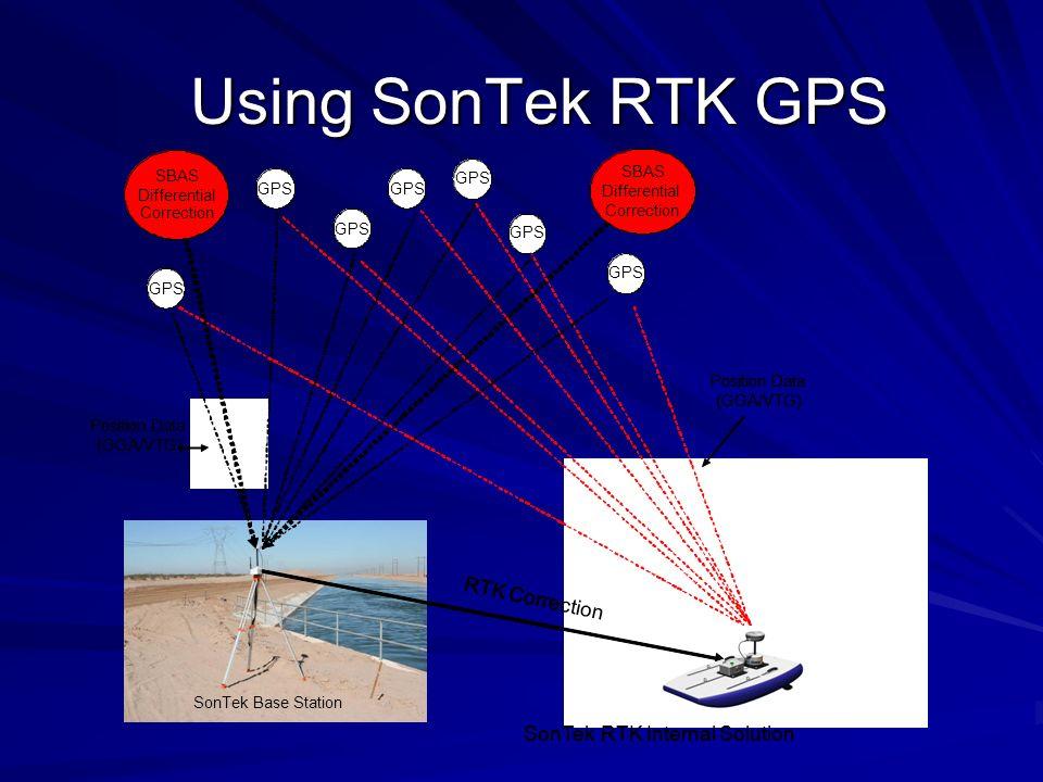 Using SonTek RTK GPS Position Data (GGA/VTG) GPS SBAS Differential Correction SBAS Differential Correction RTK Correction SonTekRTK Internal Solution