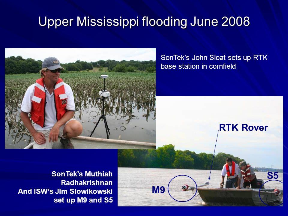 Upper Mississippi flooding June 2008 SonTeks John Sloat sets up RTK base station in cornfield M9 S5 RTK Rover SonTeks Muthiah Radhakrishnan And ISWs J