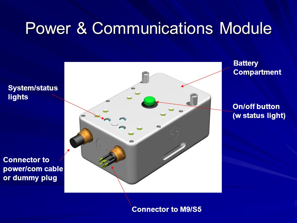 Power & Communications Module Drop-in replaceable/rechargeable 18v battery packs Battery charger Bluetooth or FreeWave 900-Mhz Communications Internal antennas Wet-mate connections 10-m cable and AC power supply for direct reading and external power Modules are fully independent of frequency and can be used with M9 or S5