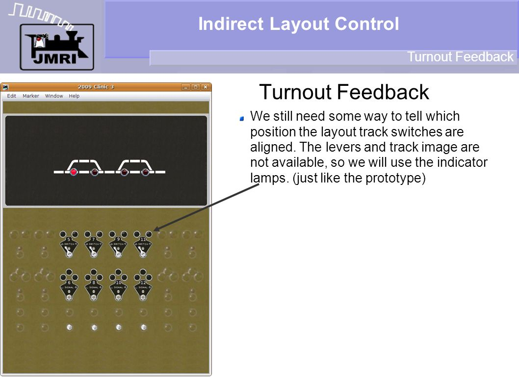Indirect Layout Control Turnout Feedback We still need some way to tell which position the layout track switches are aligned. The levers and track ima