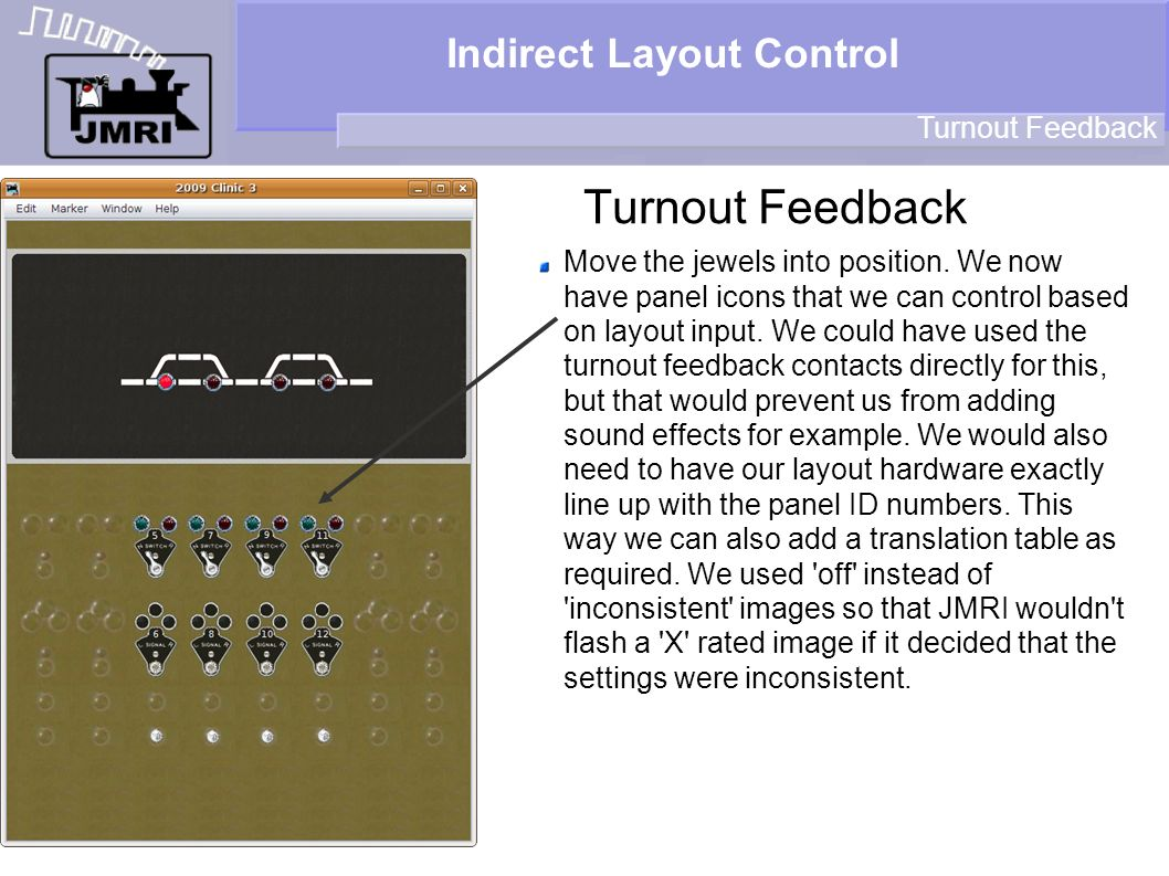 Indirect Layout Control Turnout Feedback Move the jewels into position. We now have panel icons that we can control based on layout input. We could ha