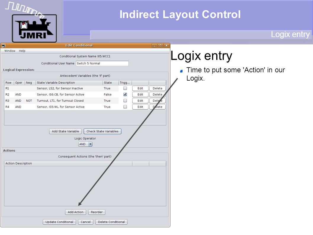 Indirect Layout Control Logix entry Time to put some 'Action' in our Logix.