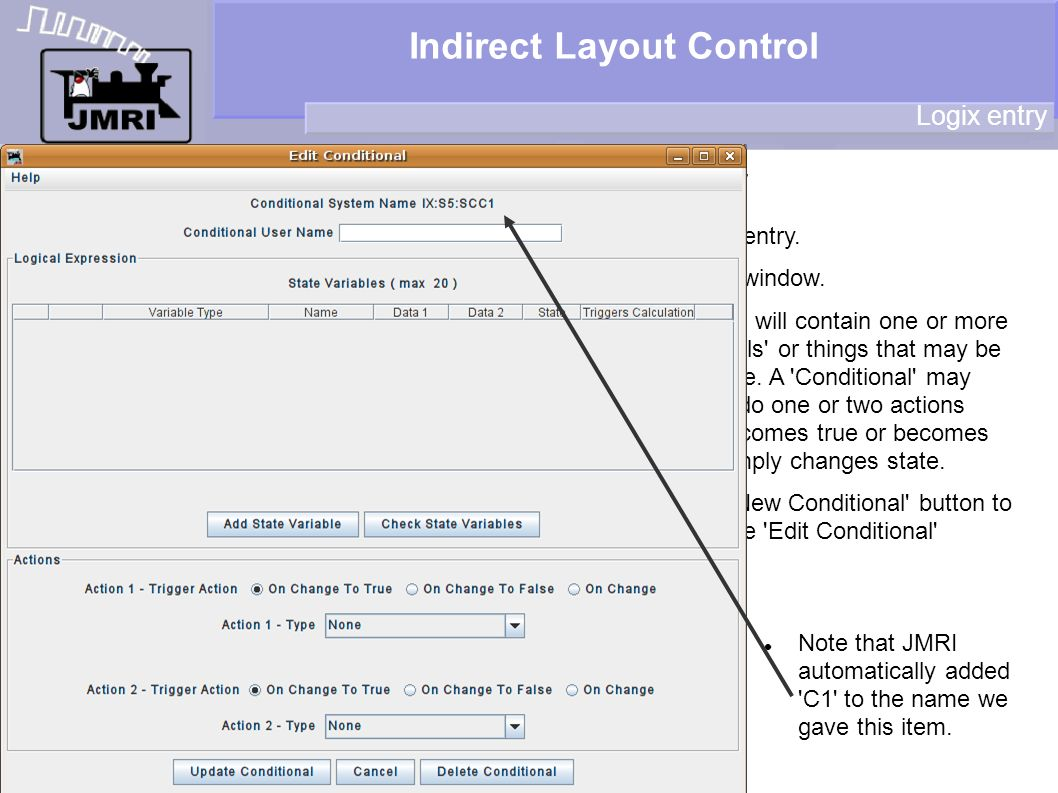 Indirect Layout Control Logix entry New table entry.