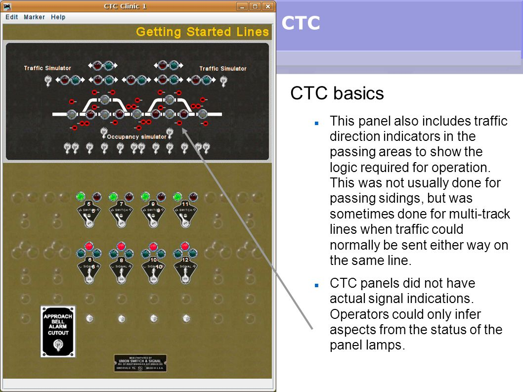 CTC CTC basics This panel also includes traffic direction indicators in the passing areas to show the logic required for operation. This was not usual