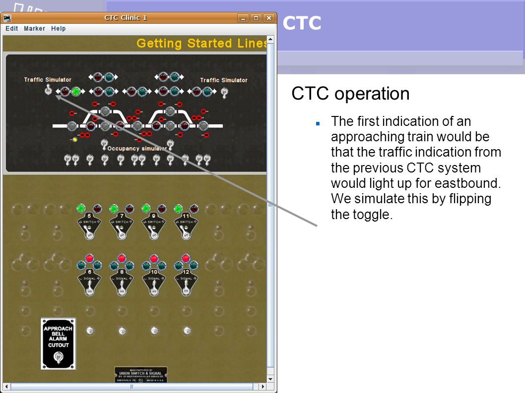 CTC CTC operation The first indication of an approaching train would be that the traffic indication from the previous CTC system would light up for ea