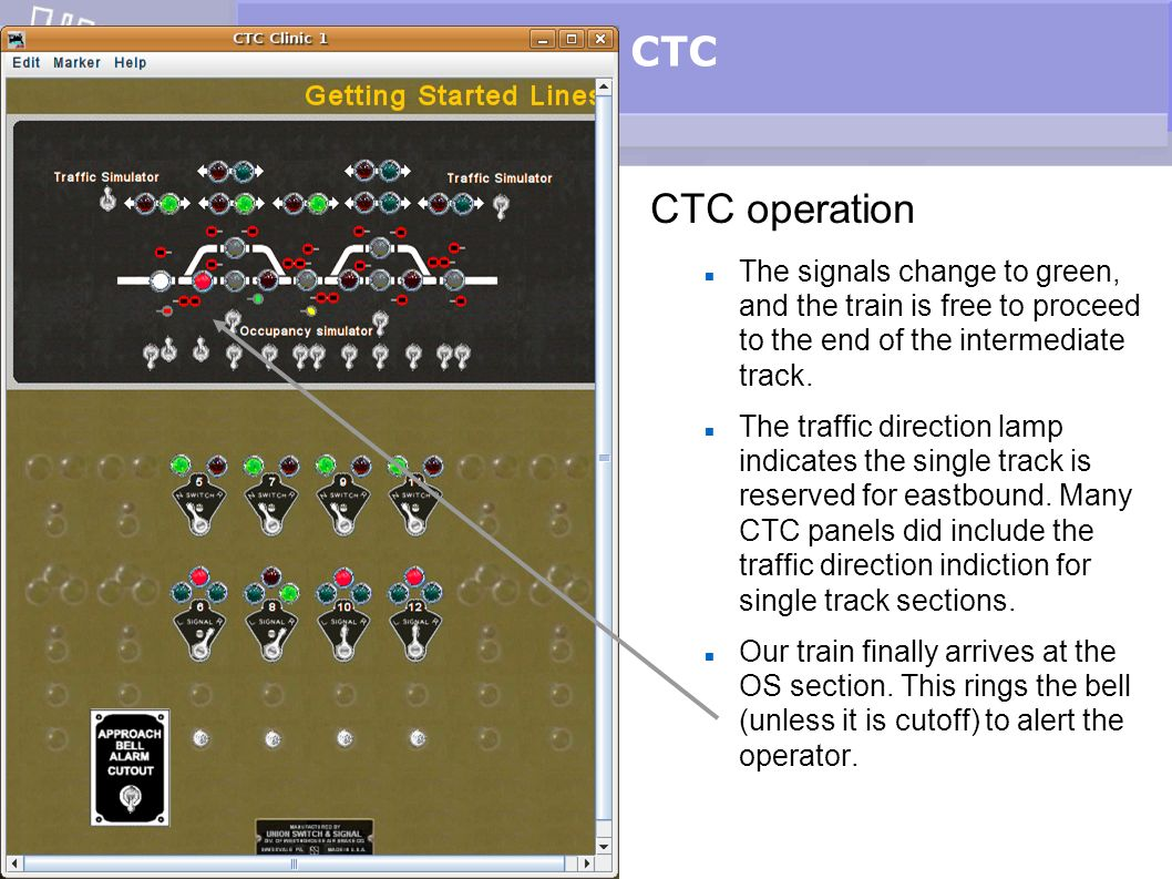 CTC CTC operation The signals change to green, and the train is free to proceed to the end of the intermediate track. The traffic direction lamp indic