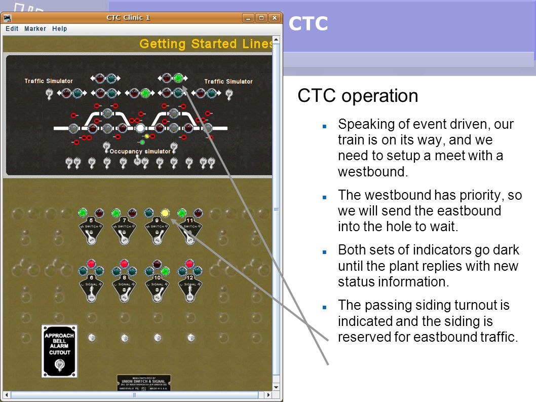 CTC CTC operation Speaking of event driven, our train is on its way, and we need to setup a meet with a westbound. The westbound has priority, so we w