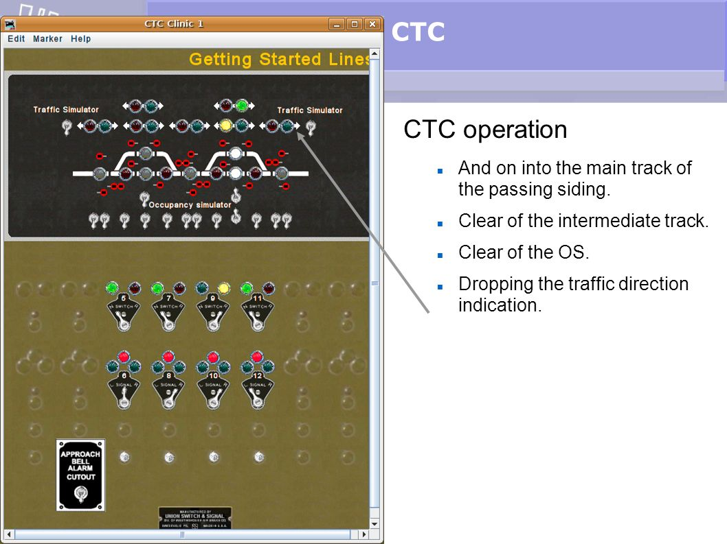 CTC CTC operation And on into the main track of the passing siding. Clear of the intermediate track. Clear of the OS. Dropping the traffic direction i