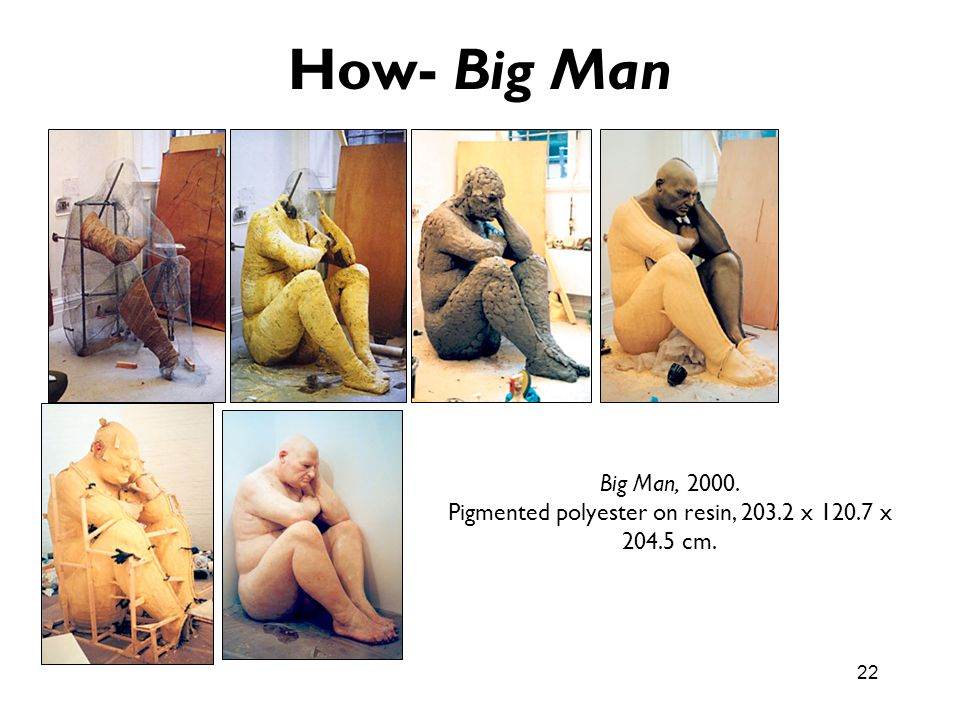 22 How- Big Man Big Man, 2000. Pigmented polyester on resin, 203.2 x 120.7 x 204.5 cm.