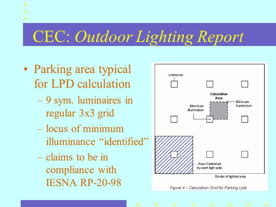 CEC Lighting Zones lighting zones imposed across entire state –defaults defined in legislation –jurisdictions may change an areas designation through a public process –CEC is to be informed of any proposed changes to zone designations –CEC may overrule any change proposed by a local jurisdiction