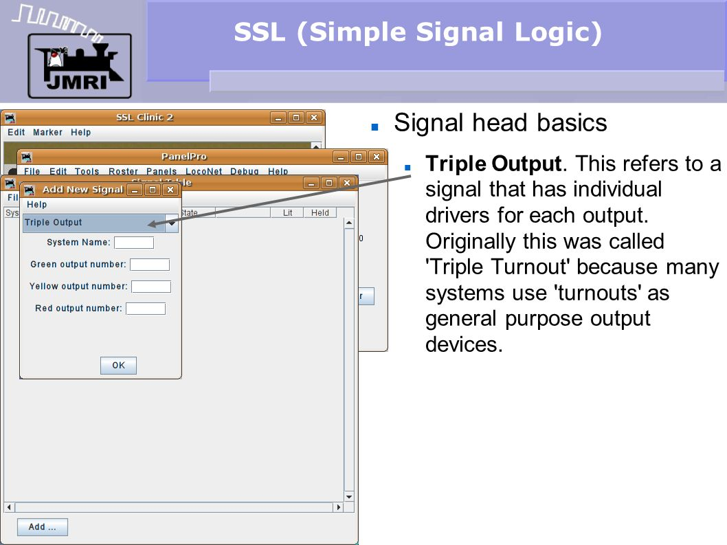 SSL (Simple Signal Logic) Signal head basics Triple Output. This refers to a signal that has individual drivers for each output. Originally this was c