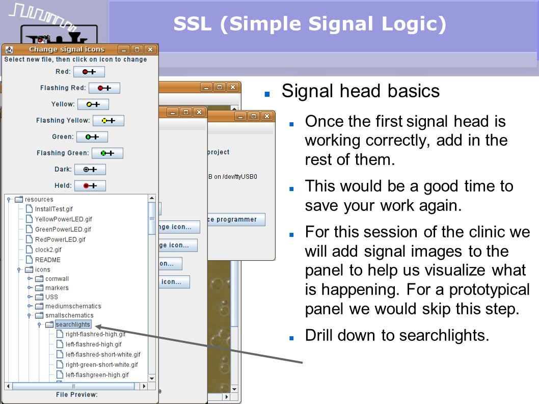 SSL (Simple Signal Logic) Signal head basics Once the first signal head is working correctly, add in the rest of them. This would be a good time to sa