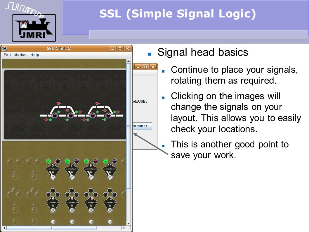 SSL (Simple Signal Logic) Signal head basics Continue to place your signals, rotating them as required. Clicking on the images will change the signals