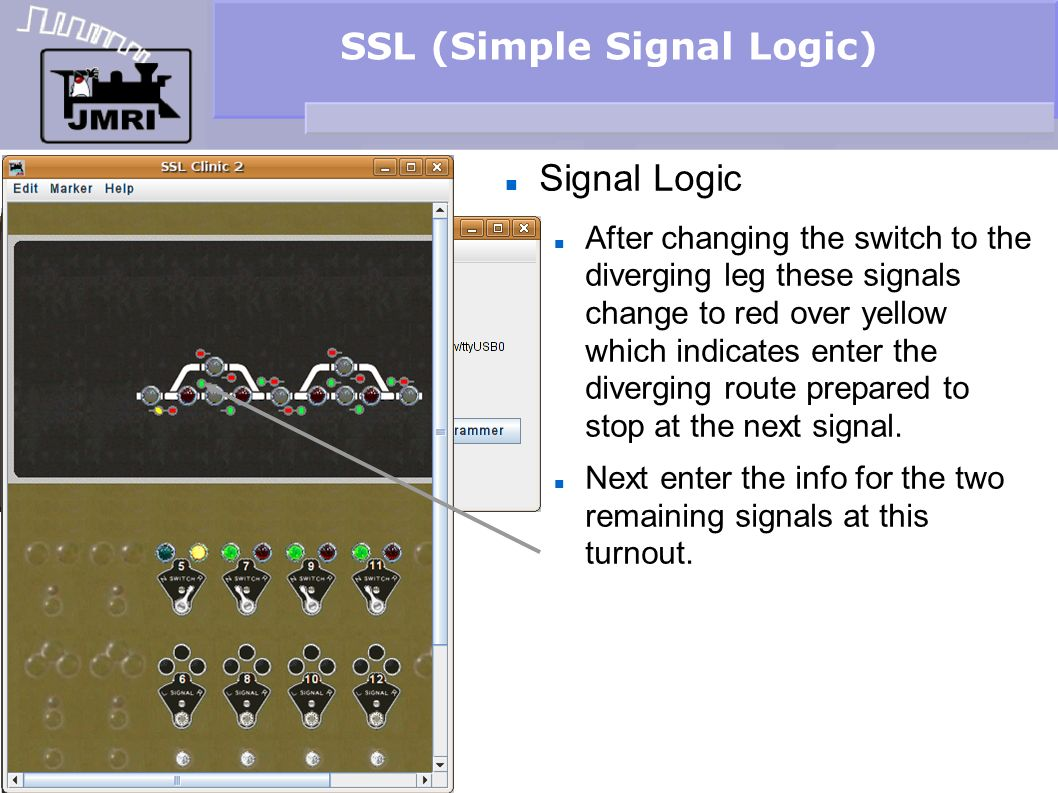 SSL (Simple Signal Logic) Signal Logic After changing the switch to the diverging leg these signals change to red over yellow which indicates enter th