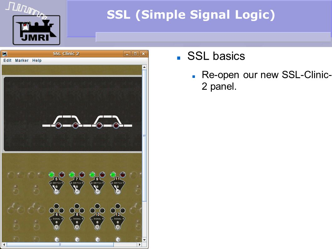 SSL (Simple Signal Logic) Signal Logic Notice that setting all the turnouts to reverse (diverging) gives us green signals through the passing sidings.