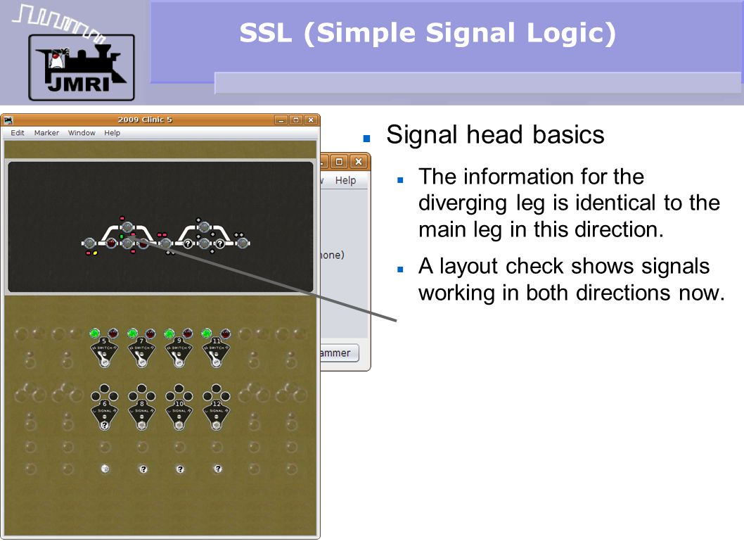 SSL (Simple Signal Logic) Signal head basics The information for the diverging leg is identical to the main leg in this direction. A layout check show