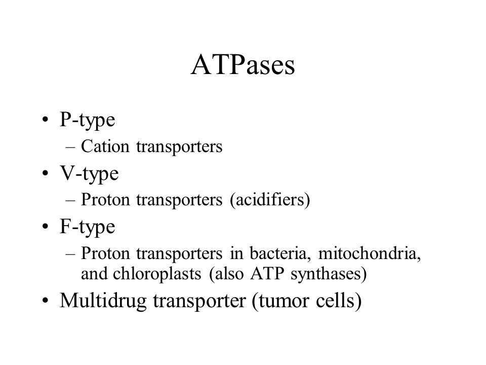 ATPases P-type –Cation transporters V-type –Proton transporters (acidifiers) F-type –Proton transporters in bacteria, mitochondria, and chloroplasts (also ATP synthases) Multidrug transporter (tumor cells)