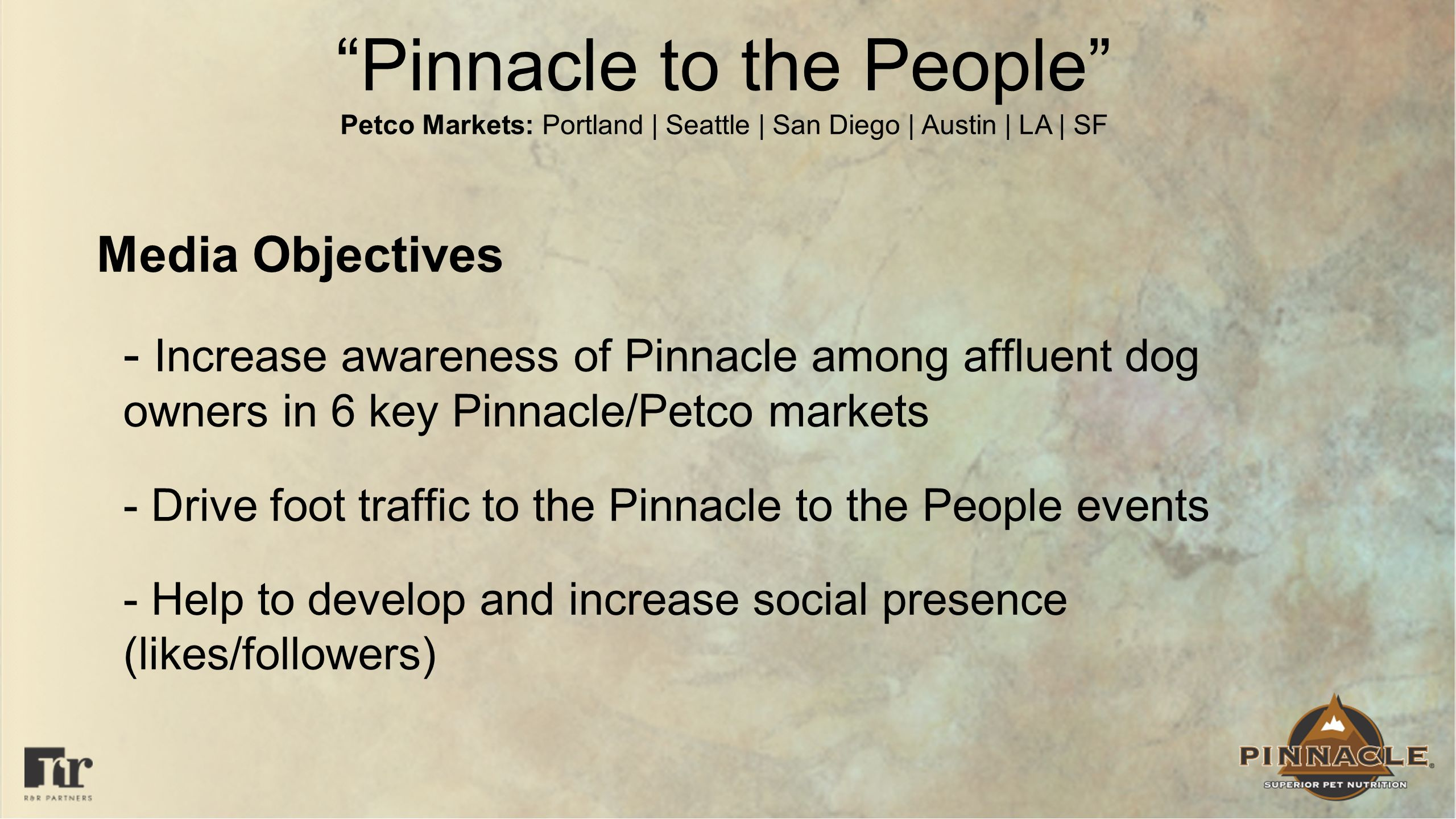 Pinnacle to the People Petco Markets: Portland | Seattle | San Diego | Austin | LA | SF Media Objectives - Increase awareness of Pinnacle among affluent dog owners in 6 key Pinnacle/Petco markets - Drive foot traffic to the Pinnacle to the People events - Help to develop and increase social presence (likes/followers)