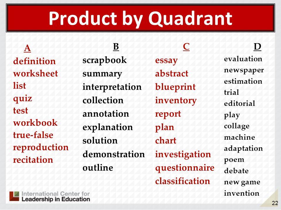 22 Product by Quadrant A definition worksheet list quiz test workbook true-false reproduction recitation B scrapbook summary interpretation collection