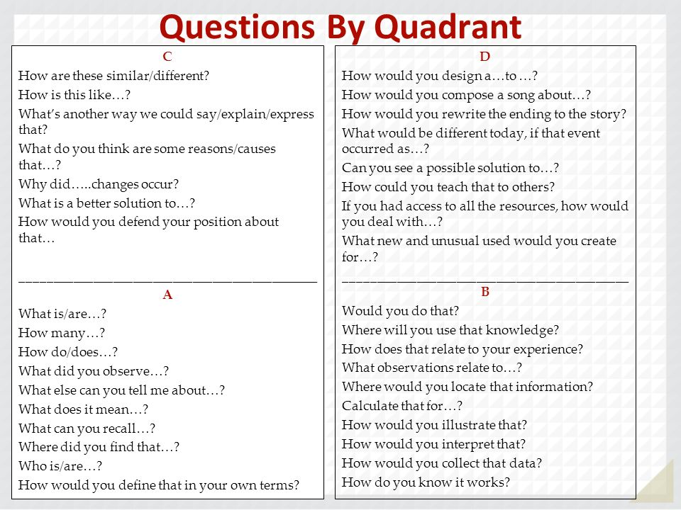 Questions By Quadrant C How are these similar/different? How is this like…? Whats another way we could say/explain/express that? What do you think are