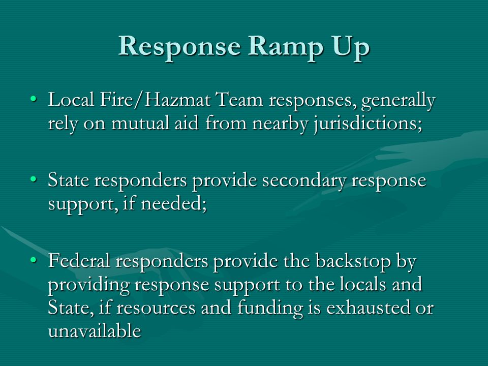 Response Ramp Up Local Fire/Hazmat Team responses, generally rely on mutual aid from nearby jurisdictions;Local Fire/Hazmat Team responses, generally rely on mutual aid from nearby jurisdictions; State responders provide secondary response support, if needed;State responders provide secondary response support, if needed; Federal responders provide the backstop by providing response support to the locals and State, if resources and funding is exhausted or unavailableFederal responders provide the backstop by providing response support to the locals and State, if resources and funding is exhausted or unavailable