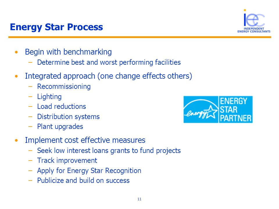 11 Energy Star Process Begin with benchmarking –Determine best and worst performing facilities Integrated approach (one change effects others) –Recommissioning –Lighting –Load reductions –Distribution systems –Plant upgrades Implement cost effective measures –Seek low interest loans grants to fund projects –Track improvement –Apply for Energy Star Recognition –Publicize and build on success