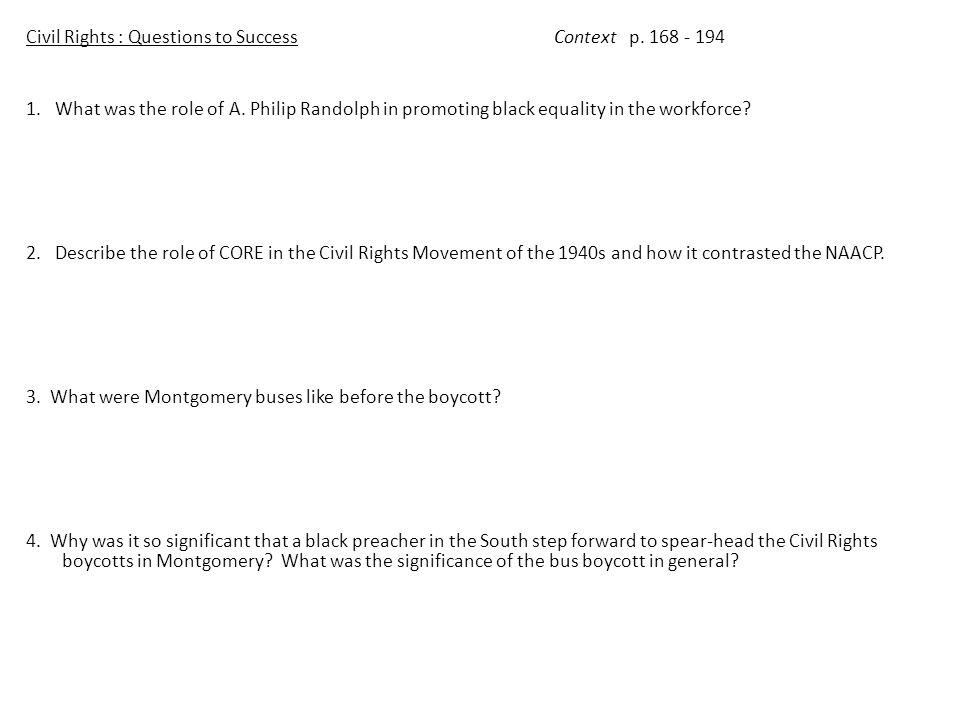 Civil Rights : Questions to SuccessContext p.168 – 194 5.