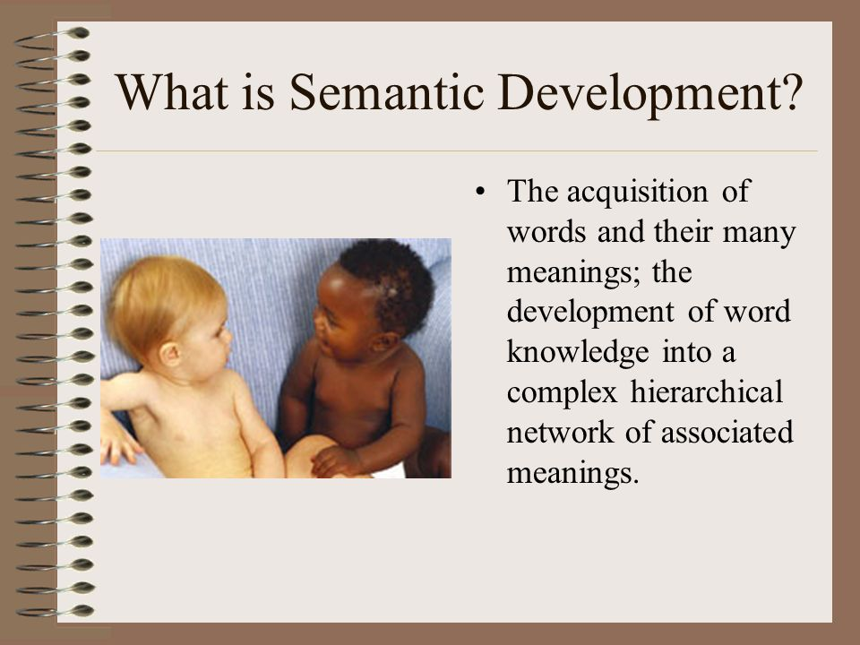What is Semantic Development? The acquisition of words and their many meanings; the development of word knowledge into a complex hierarchical network