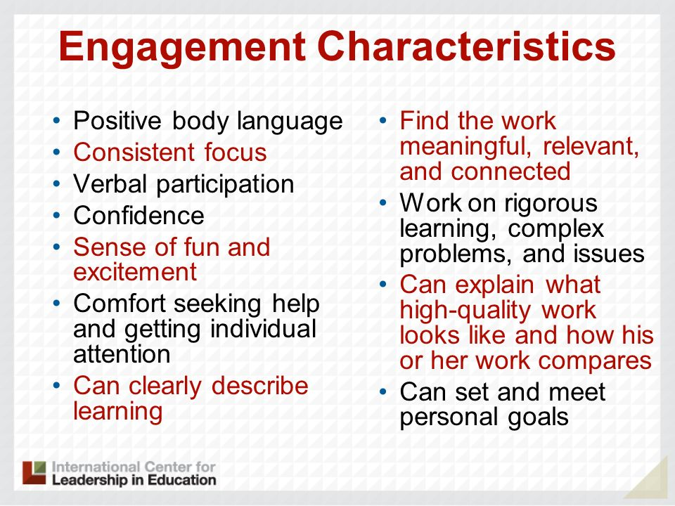 Positive body language Consistent focus Verbal participation Confidence Sense of fun and excitement Comfort seeking help and getting individual attent