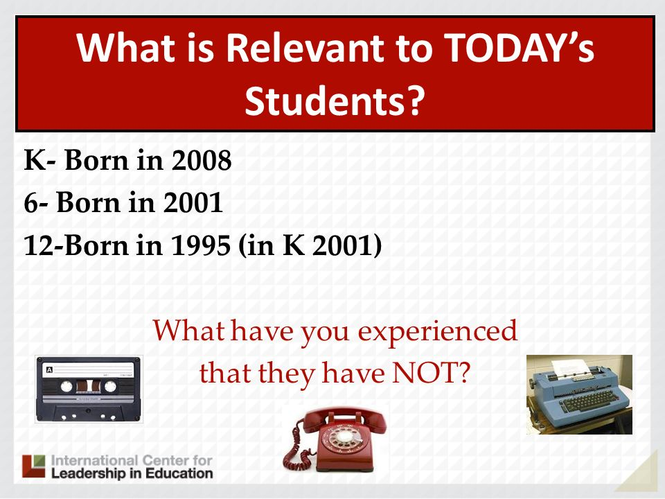 What is Relevant to TODAYs Students? K- Born in 2008 6- Born in 2001 12-Born in 1995 (in K 2001) What have you experienced that they have NOT?