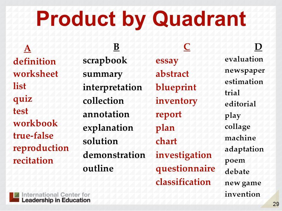 29 Product by Quadrant A definition worksheet list quiz test workbook true-false reproduction recitation B scrapbook summary interpretation collection