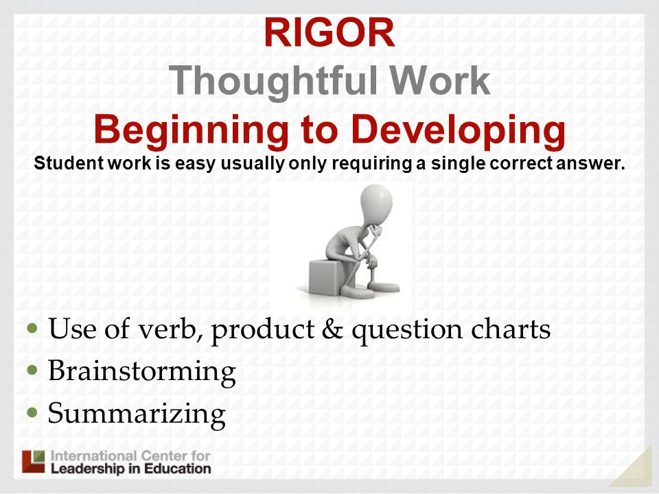 RIGOR Thoughtful Work Beginning to Developing Student work is easy usually only requiring a single correct answer. Use of verb, product & question cha