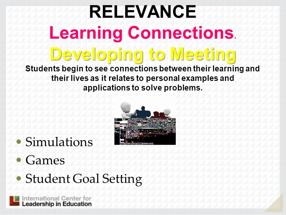 Developing to Meeting RELEVANCE Learning Connections. Developing to Meeting Students begin to see connections between their learning and their lives a