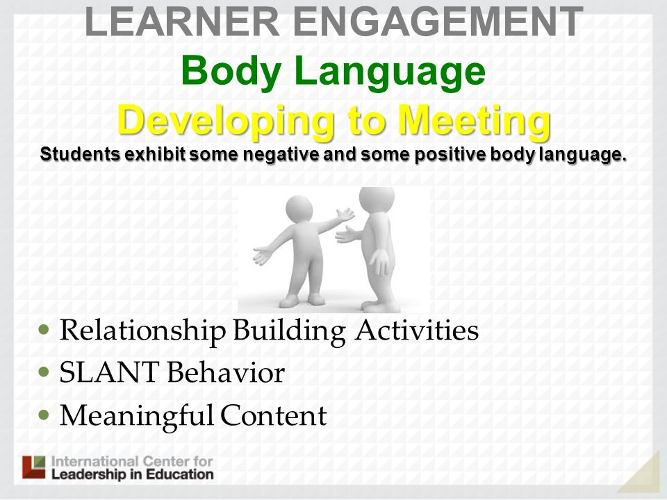 Developing to Meeting Students exhibit some negative and some positive body language. LEARNER ENGAGEMENT Body Language Developing to Meeting Students
