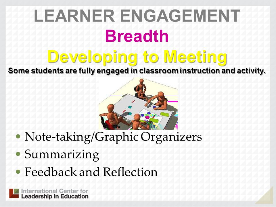 Developing to Meeting Some students are fully engaged in classroom instruction and activity. LEARNER ENGAGEMENT Breadth Developing to Meeting Some stu