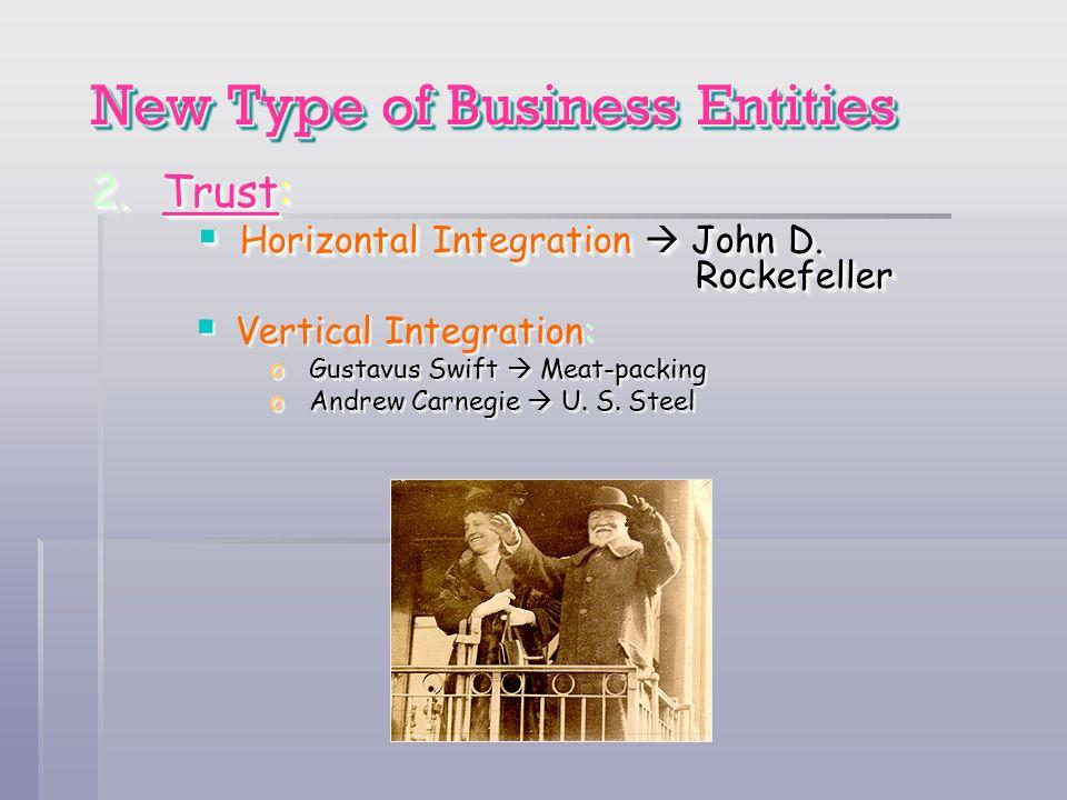 New Type of Business Entities 2.Trust: Horizontal Integration John D. Rockefeller Horizontal Integration John D. Rockefeller 2.Trust: Horizontal Integ
