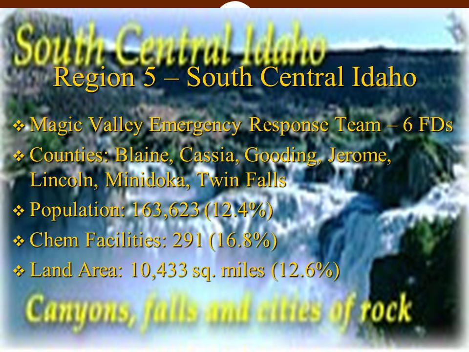 Region 5 – South Central Idaho Magic Valley Emergency Response Team – 6 FDs Magic Valley Emergency Response Team – 6 FDs Counties: Blaine, Cassia, Gooding, Jerome, Lincoln, Minidoka, Twin Falls Counties: Blaine, Cassia, Gooding, Jerome, Lincoln, Minidoka, Twin Falls Population: 163,623 (12.4%) Population: 163,623 (12.4%) Chem Facilities: 291 (16.8%) Chem Facilities: 291 (16.8%) Land Area: 10,433 sq.