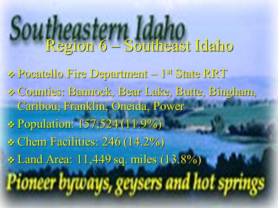 Region 6 – Southeast Idaho Pocatello Fire Department – 1 st State RRT Pocatello Fire Department – 1 st State RRT Counties: Bannock, Bear Lake, Butte, Bingham, Caribou, Franklin, Oneida, Power Counties: Bannock, Bear Lake, Butte, Bingham, Caribou, Franklin, Oneida, Power Population: 157,524 (11.9%) Population: 157,524 (11.9%) Chem Facilities: 246 (14.2%) Chem Facilities: 246 (14.2%) Land Area: 11,449 sq.