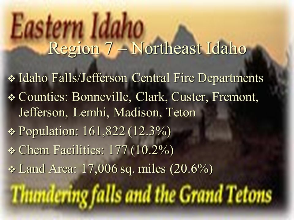 Region 7 – Northeast Idaho Idaho Falls/Jefferson Central Fire Departments Idaho Falls/Jefferson Central Fire Departments Counties: Bonneville, Clark, Custer, Fremont, Jefferson, Lemhi, Madison, Teton Counties: Bonneville, Clark, Custer, Fremont, Jefferson, Lemhi, Madison, Teton Population: 161,822 (12.3%) Population: 161,822 (12.3%) Chem Facilities: 177 (10.2%) Chem Facilities: 177 (10.2%) Land Area: 17,006 sq.