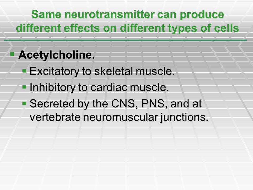 Acetylcholine. Acetylcholine. Excitatory to skeletal muscle. Excitatory to skeletal muscle. Inhibitory to cardiac muscle. Inhibitory to cardiac muscle